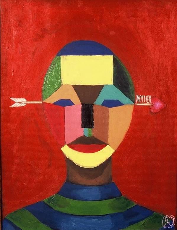 Mask Art Print featuring the painting Mother by Malik Seneferu