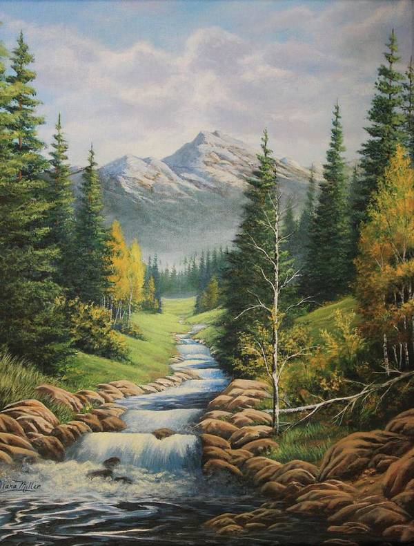 Mountain Art Print featuring the painting Mountain River View by Diana Miller
