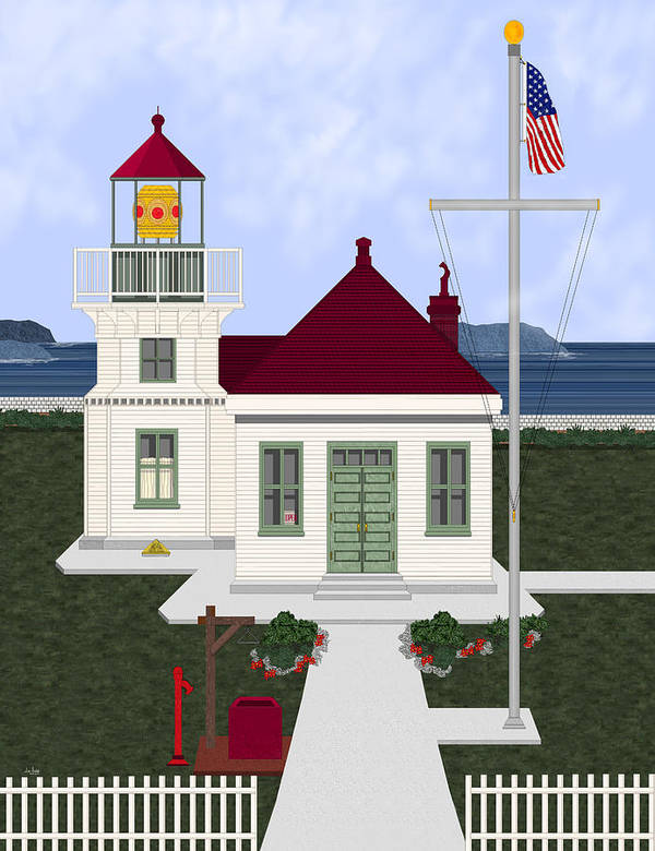 Lighthouse Art Print featuring the painting Mukilteo Light by Anne Norskog