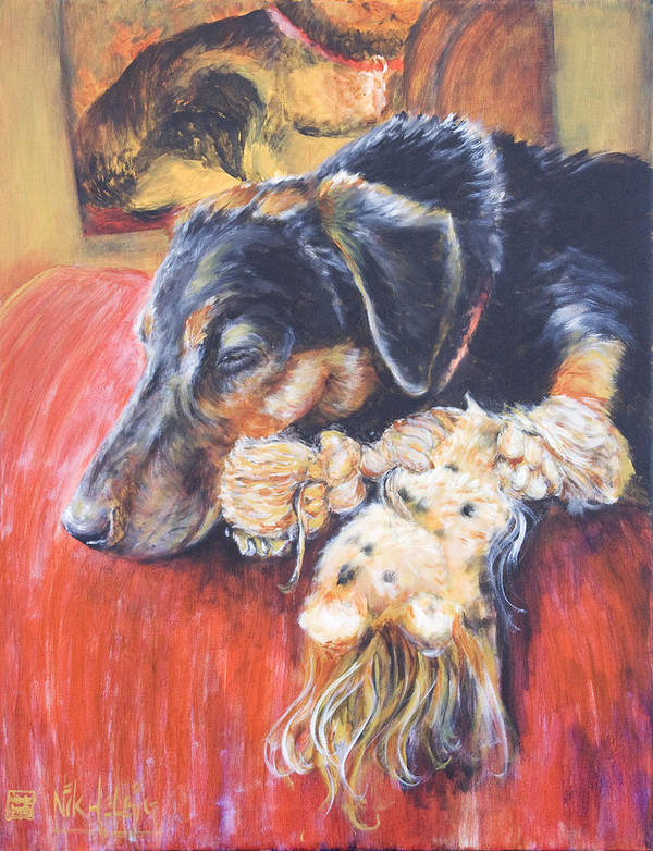Dog Art Print featuring the painting Murphy Viii by Nik Helbig