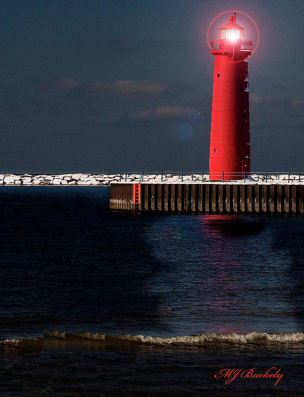 Lighthouse Art Print featuring the photograph Muskegon Mi Lighthouse by Marti Buckely