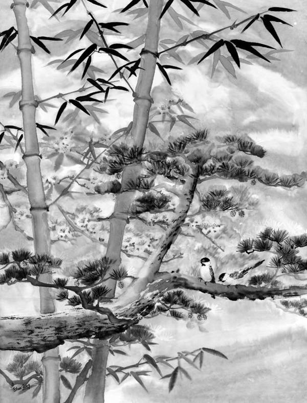 Black And White Art Print featuring the painting Nature by Eileen Fong