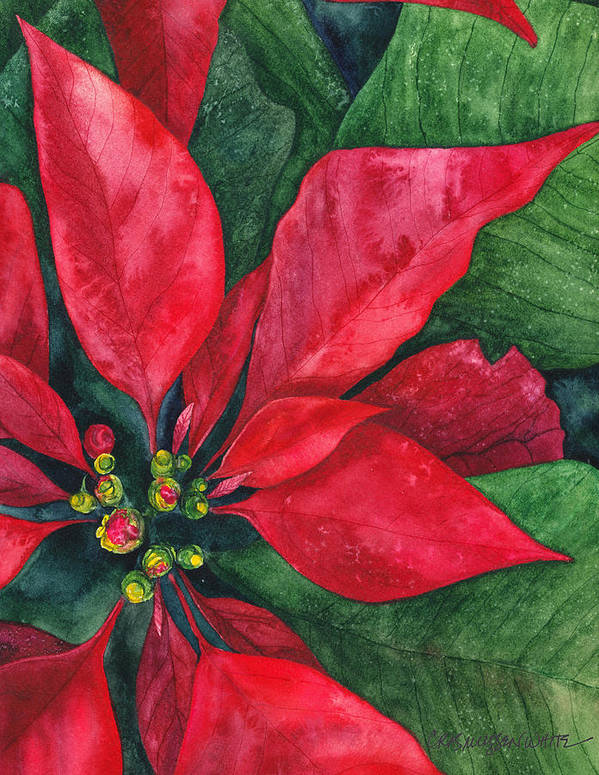 Watercolor Art Print featuring the painting Navidad by Casey Rasmussen White