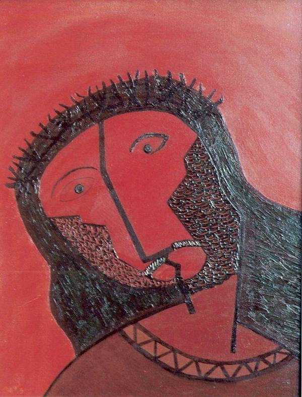 Head Art Print featuring the painting No.260 by Vijayan Kannampilly