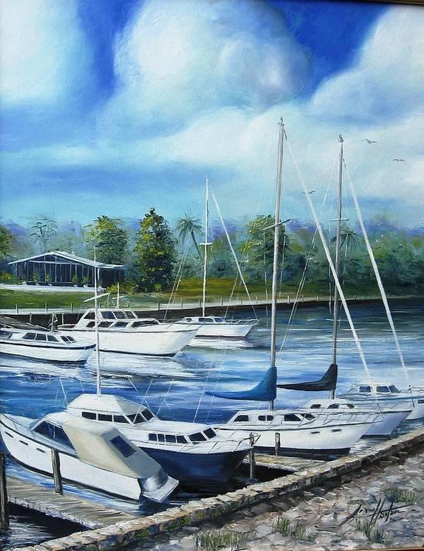 Marina Art Print featuring the painting North Myrtle Beach Marina by Jim Horton