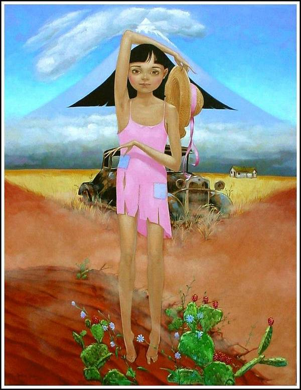 Country Girl Art Print featuring the painting Oklahoma Girl With Mt.fuji by Jerrold Carton