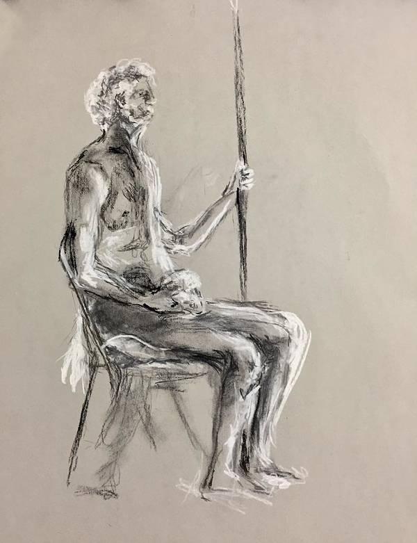 Art Print featuring the drawing Old Men by Paulina Jakubowska