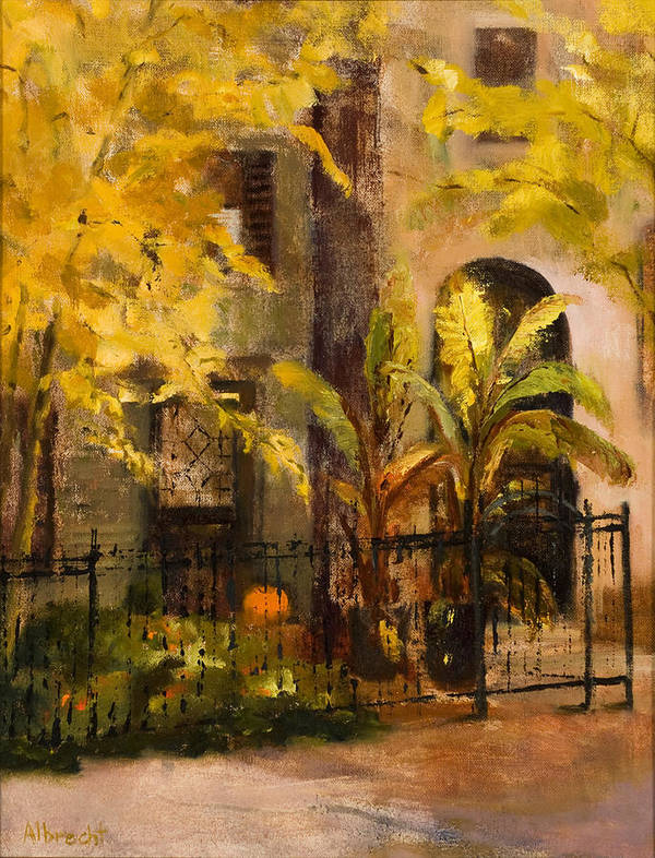 Autumn Garden Art Print featuring the painting On Orleans In Old Town by Nancy Albrecht