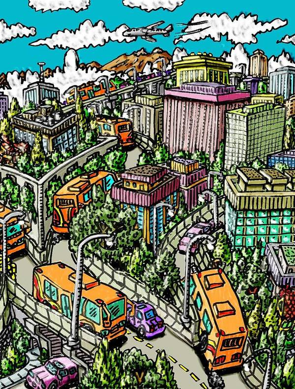 City Art Print featuring the mixed media Orange Buses Are Free by Gregg Dutcher