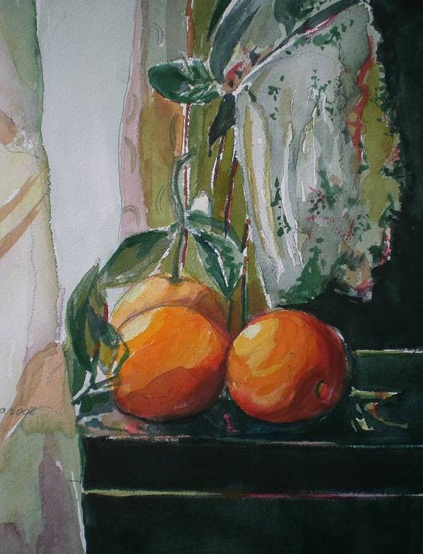 Oranges Art Print featuring the painting Oranges On Black by Aleksandra Buha