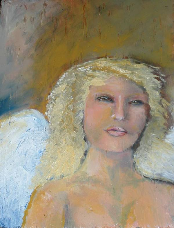 Angels Art Print featuring the painting Peaceful by J Bauer