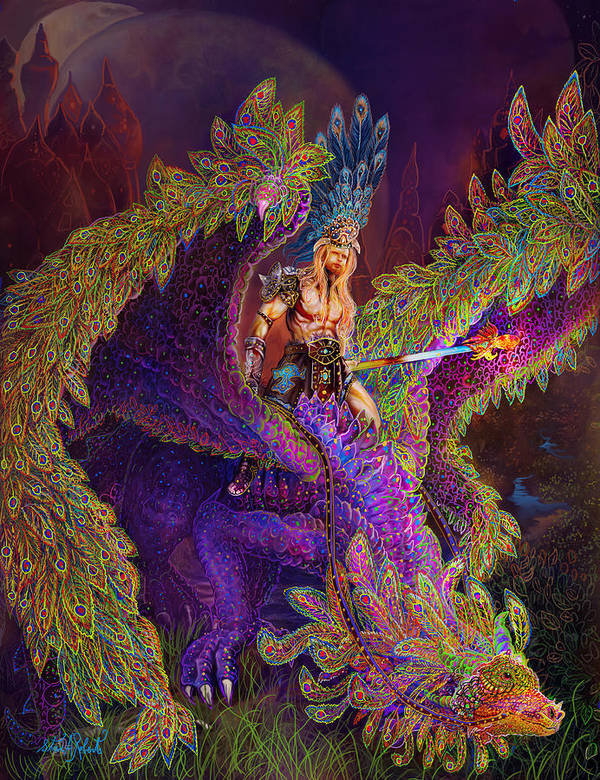 Dragon Fantasy Art Art Print featuring the painting Peacok Dragon by Steve Roberts