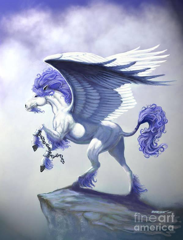 Pegasus.fantasy Art Print featuring the digital art Pegasus Unchained by Stanley Morrison