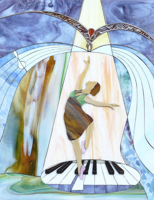 Backlit Art Print featuring the painting Piano Dance by Greg Gierlowski