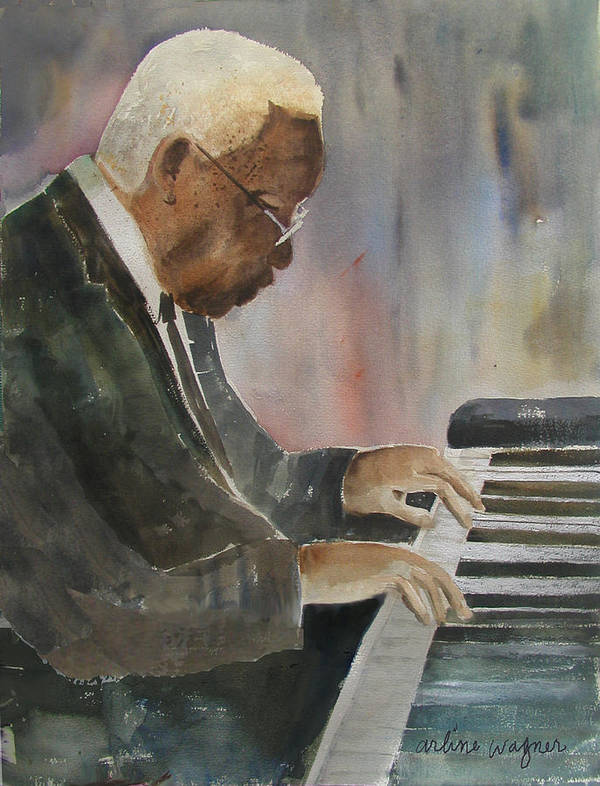 Pianist Art Print featuring the painting Piano Jazz by Arline Wagner
