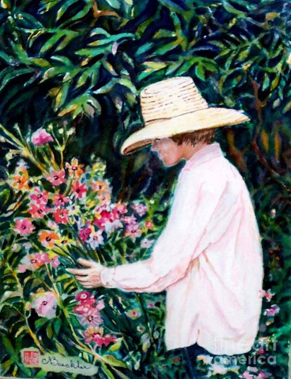 People Art Print featuring the painting Picking A Bouquet by Norma Boeckler
