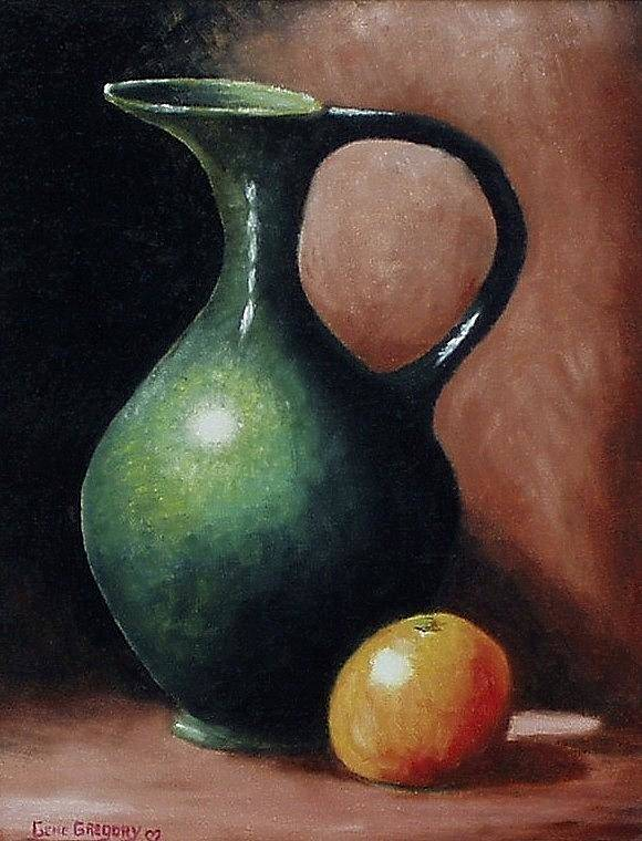 Still Life Art Print featuring the painting Pitcher And Orange by Gene Gregory