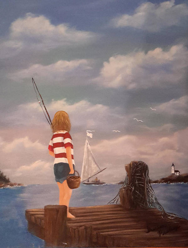 Boy Art Print featuring the painting Playing Hooky by Theresa Prokop