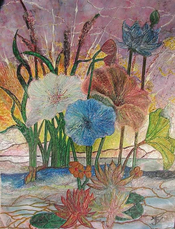 Floral Art Print featuring the painting Pond by John Vandebrooke