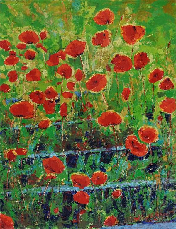 Poppies Art Print featuring the painting Poppies And Traverses 1 by Iliyan Bozhanov