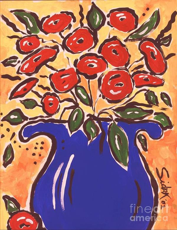 Floral Art Print featuring the painting Poppies In Blue Vase 2001 by Sidra Myers