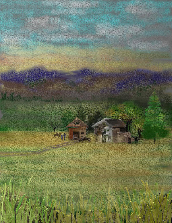 Barn Art Print featuring the digital art Porter's Farm by Arline Wagner