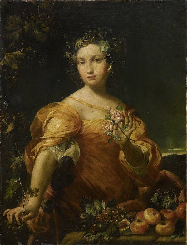 Giuseppe Maria Crespi Art Print featuring the painting Portrait Of A Lady, Allegory Of Abundantia by Giuseppe Maria Crespi