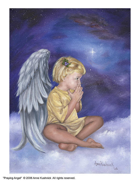 Christmas Art Print featuring the painting Praying Angel by Anne Kushnick