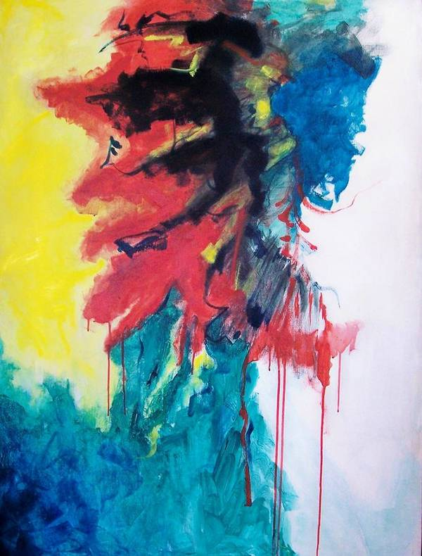 Abstract Art Print featuring the painting Primary by Linda Frank