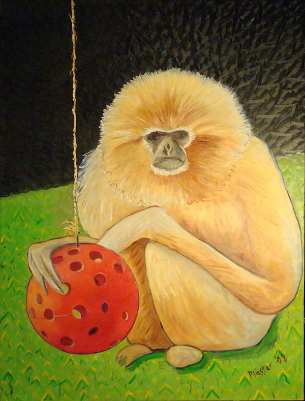 Animals Art Print featuring the painting Psychic Monkey by Scott Plaster