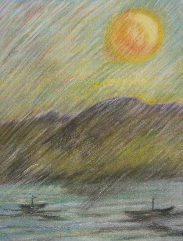 Sun Art Print featuring the pastel Purple Mountains by Leslie Manley