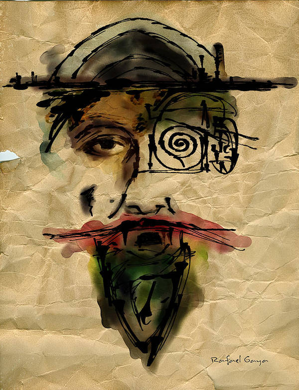 Portraits Art Print featuring the painting Quoijote 002 by Rafael Gaya