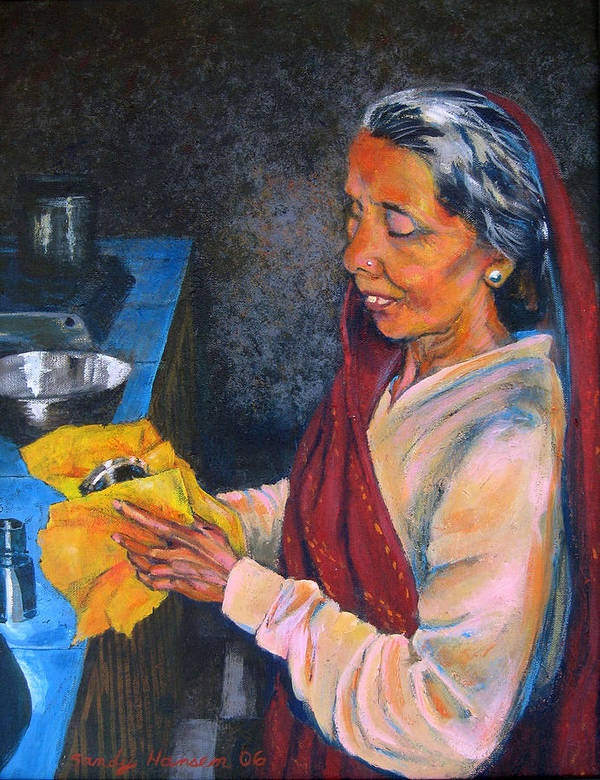 India Art Print featuring the painting Rani The Cook by Art Nomad Sandra Hansen