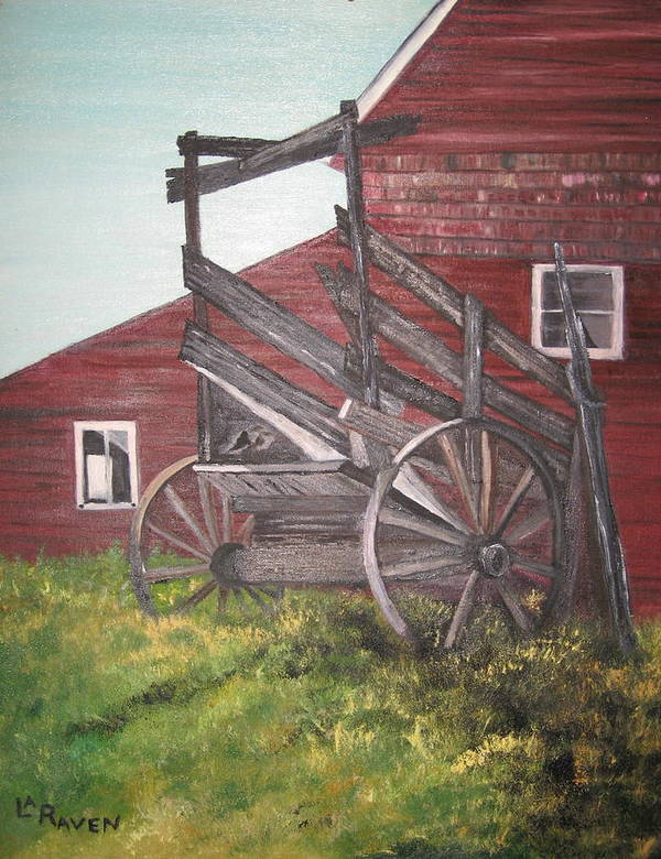 Landscape Art Print featuring the painting Red Barn And Cattle Ramp by L A Raven