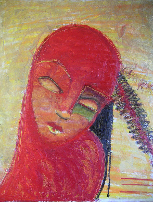 Portrait Art Print featuring the painting Red Skin by Erika Brown