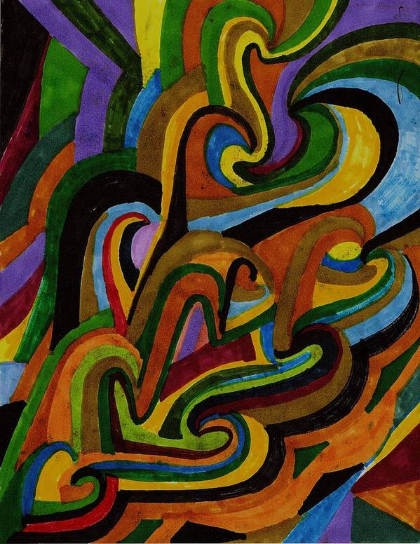 Abstract Art Print featuring the drawing Ribbons Of Color by Brenda Adams