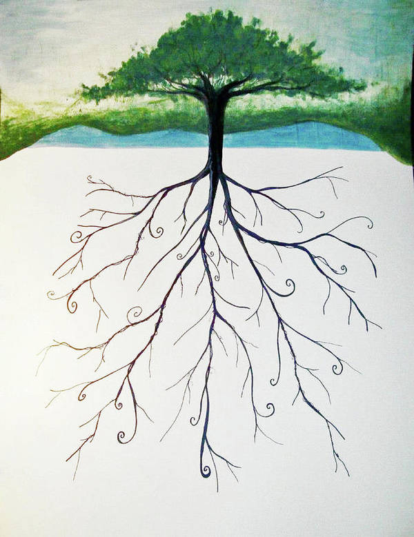Tree Art Print featuring the painting Roots Of A Tree by Emily Perry