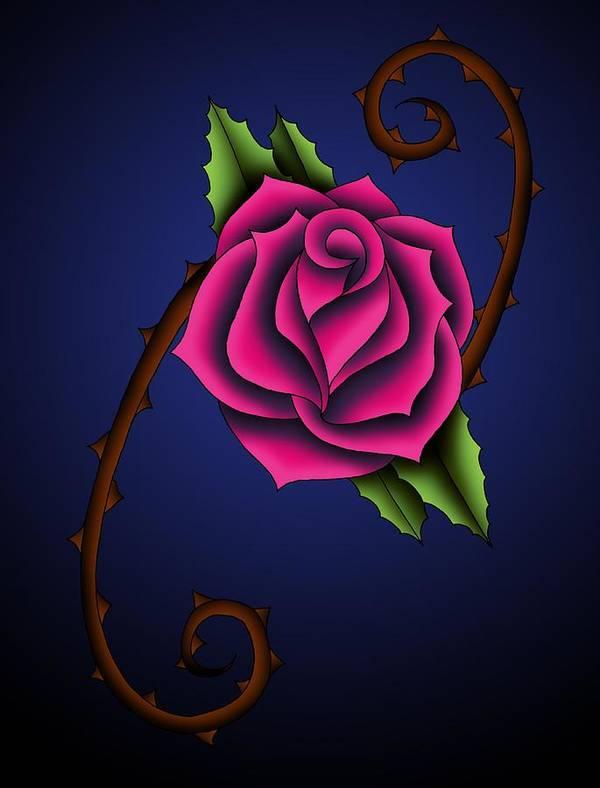 Rose Art Print featuring the digital art Rose 12 by David DAmbrosio