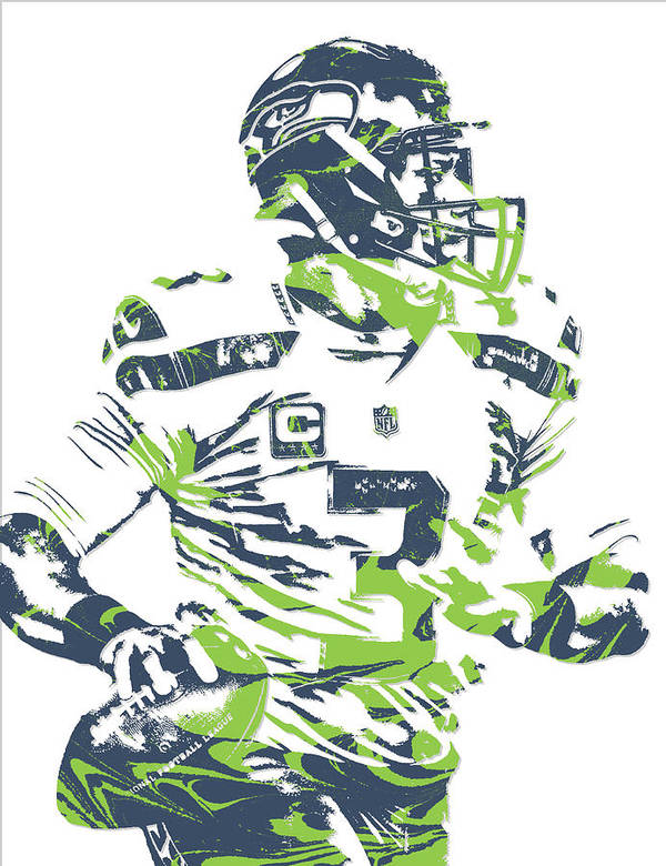 5f7e97d20 Russell Wilson Art Print featuring the mixed media Russell Wilson Seattle  Seahawks Pixel Art 10 by