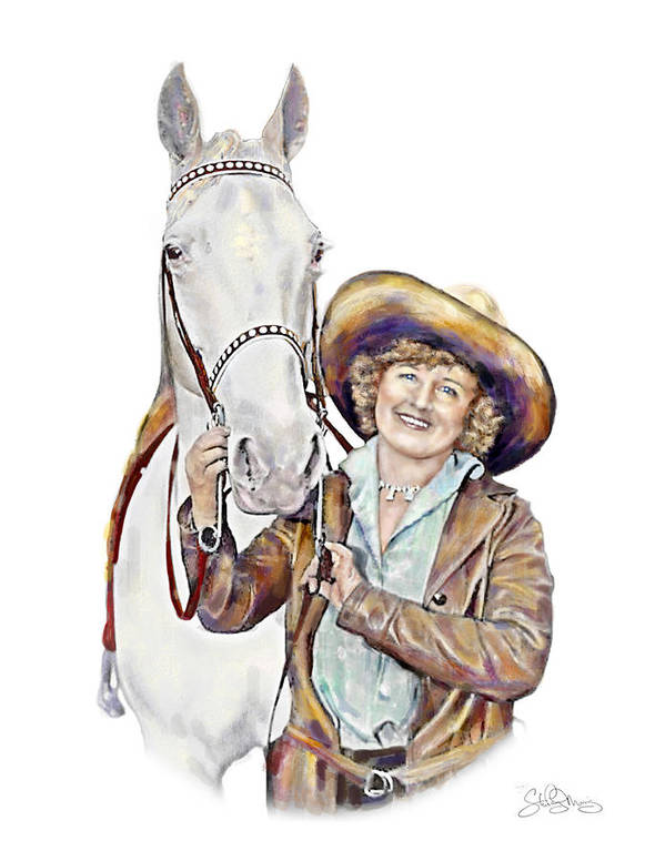 Cowgirl Art Print featuring the painting Ruthie And The Silver Lady by Shirley Morris