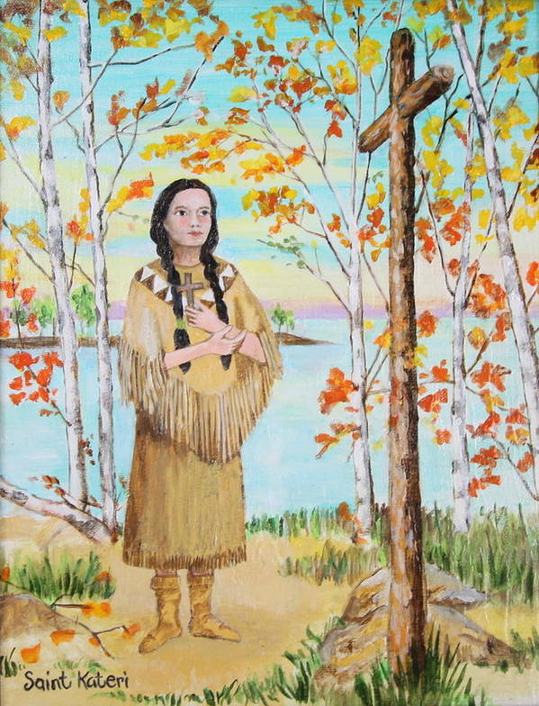 Wooden Cross Art Print featuring the painting Saint Kateri by Jan Mecklenburg
