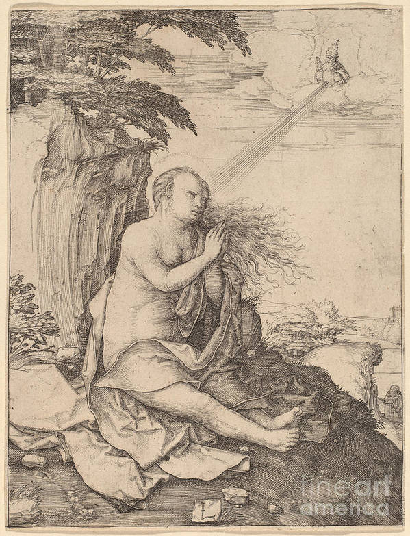 Art Print featuring the drawing Saint Mary Magdalene In The Desert by Lucas Van Leyden