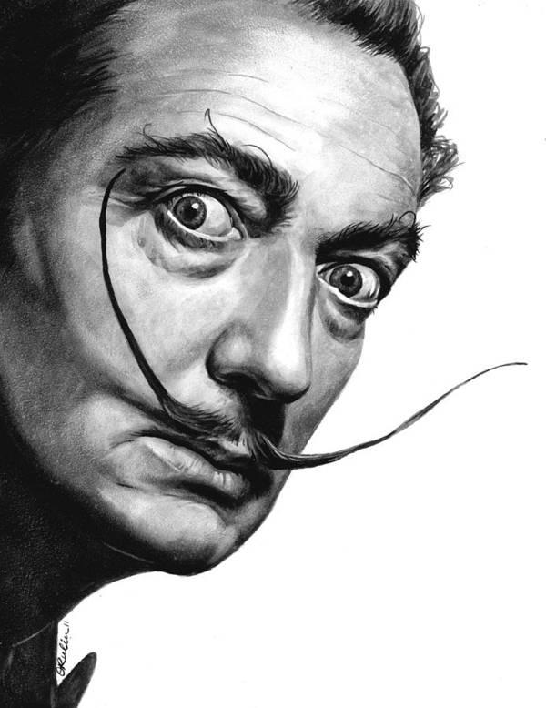 Salvador Dali Portrait Art Print by Olga Tereshchuk