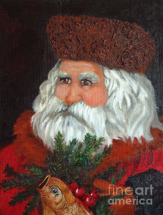 Santa Art Print featuring the painting Santa by Portraits By NC