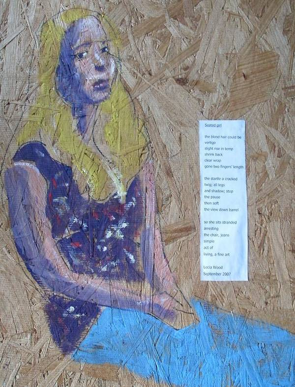 Girl And Poem Art Print featuring the painting Seated Girl by Dick Eustice