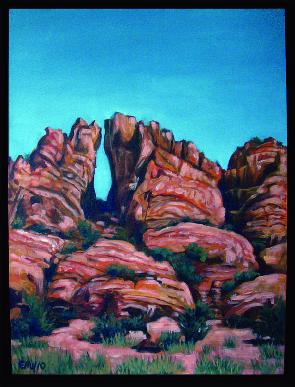 Landscapes Art Print featuring the painting Sedona Portal by Edward Williams