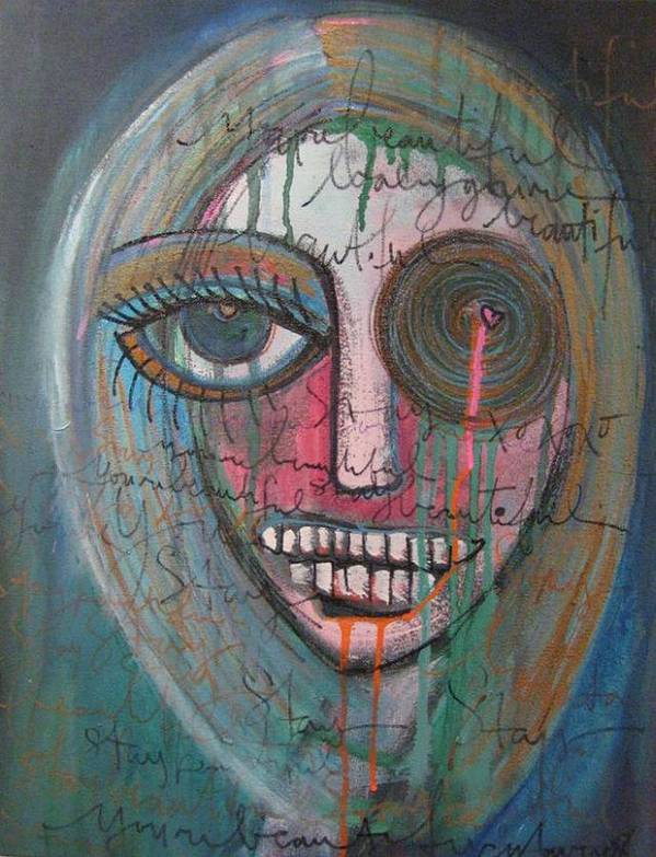 Self Portraits Art Print featuring the painting Self Portrait Youre Beautiful by Laurie Maves ART
