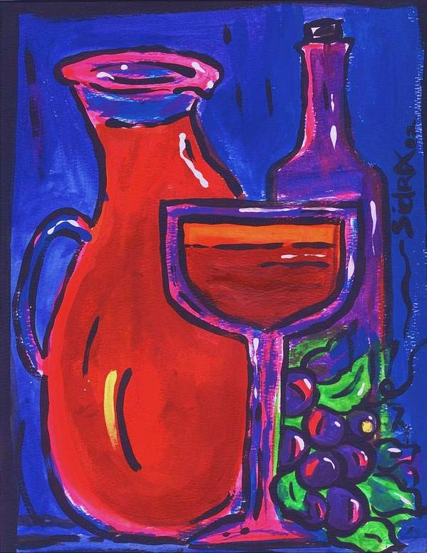 Wine Art Print featuring the painting Sidzart Pop Art Series 2002 Wine Party by Sidra Myers