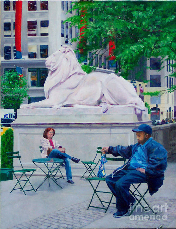 42nd Street Library Art Print featuring the digital art Sitting With Patience by Lou Spina