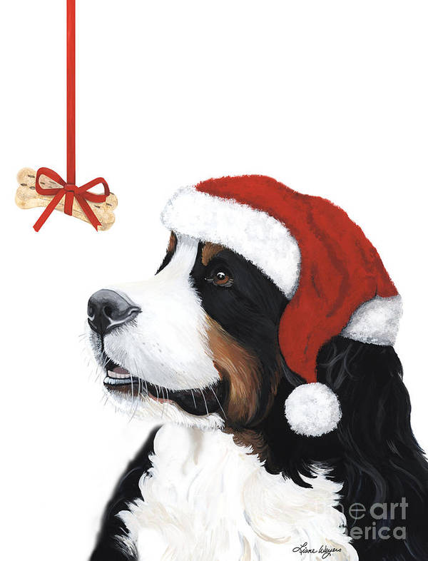 Bernese Mountain Dog Art Print featuring the painting Smile Its Christmas by Liane Weyers